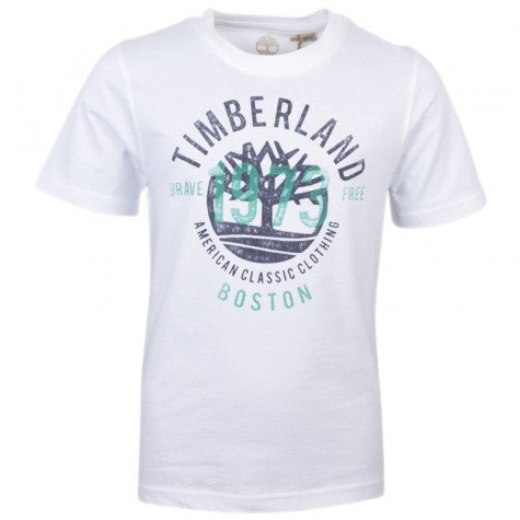 SS18 Timberland Boys White 1973 Logo Top