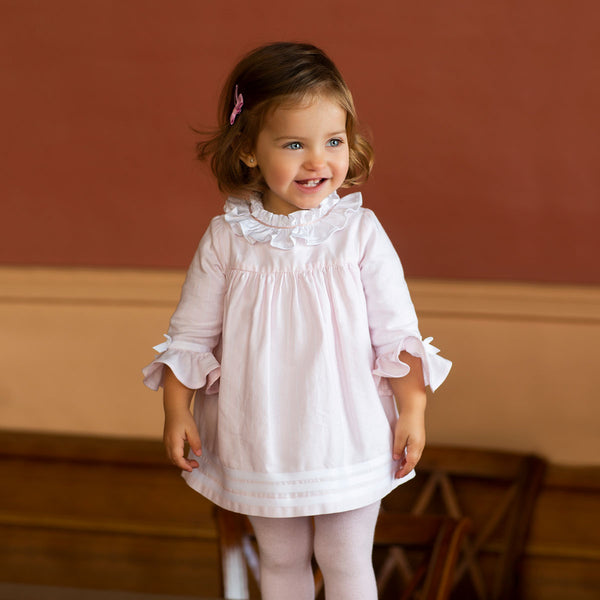 AW19 Tutto Piccolo Girls Pink & White Collar Dress & Tights 7214
