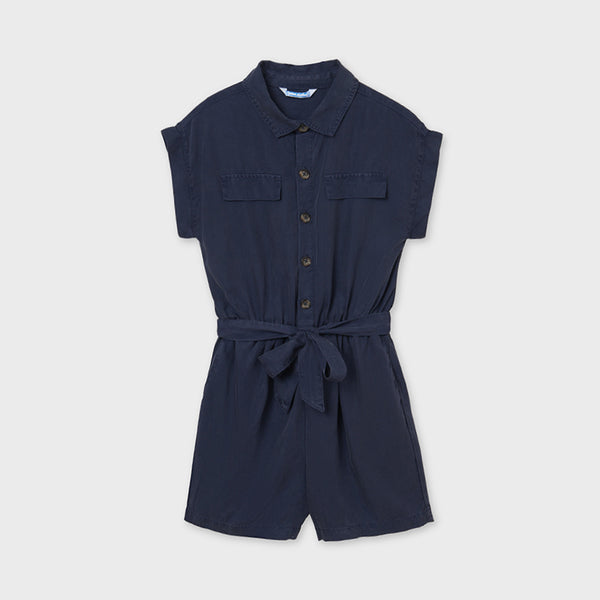 SS21 Mayoral Older Girls Navy Blue Belted Playsuit 6819