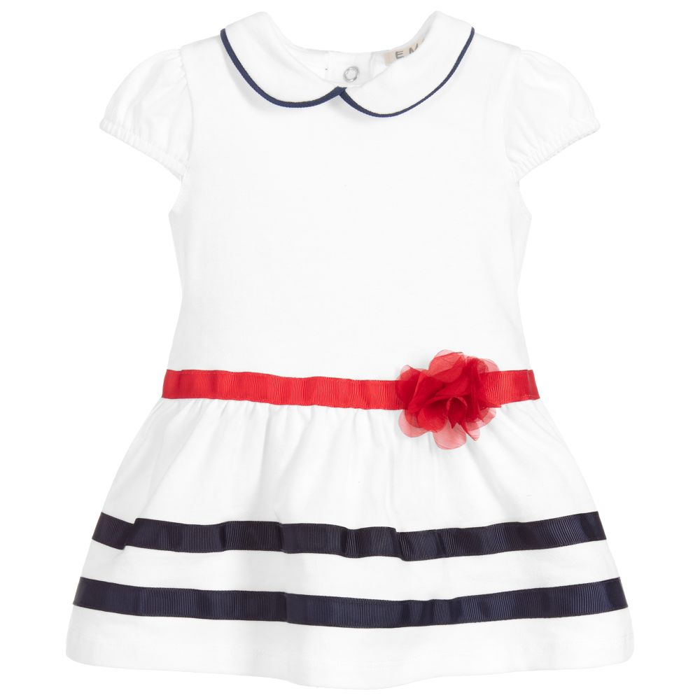 SS19 Everthing Must Change Baby Girls White, Red & Navy Dress