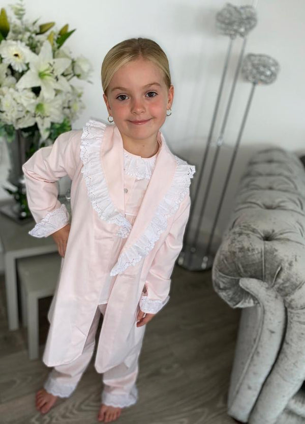 AW20 Salero Spanish Pale Pink and White Frilled Pyjamas and Dressing Gown Set (can be personalized)