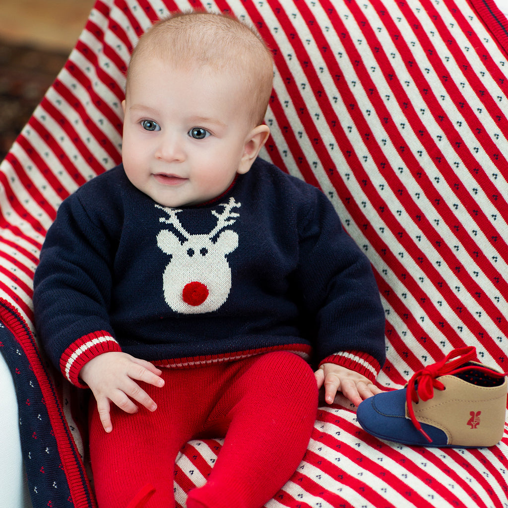 AW19 Tutto Piccolo Baby Navy & Red Knitted Set 7702 & 7401