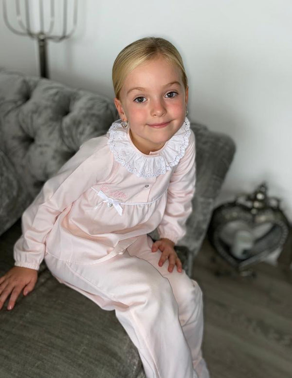 AW20 Salero Spanish Pink and White Frill Pyjamas (can be personalized)
