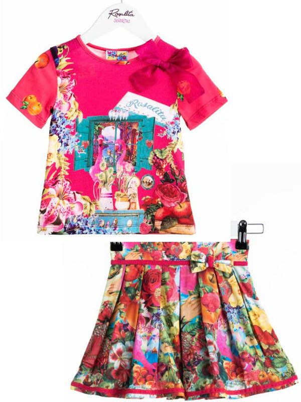 SS19 Rosalita Girls Flamingo Pink Skirt Set