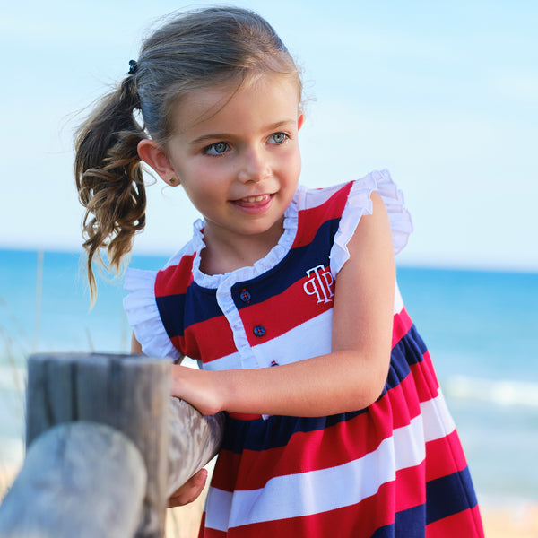 SS21 Tutto Piccolo Girls Navy Blue, Red & White Stripe Dress 1426