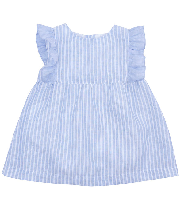 SS19 Laranjinha Baby Girls Lavender Blue & White Stripe Dress V9325