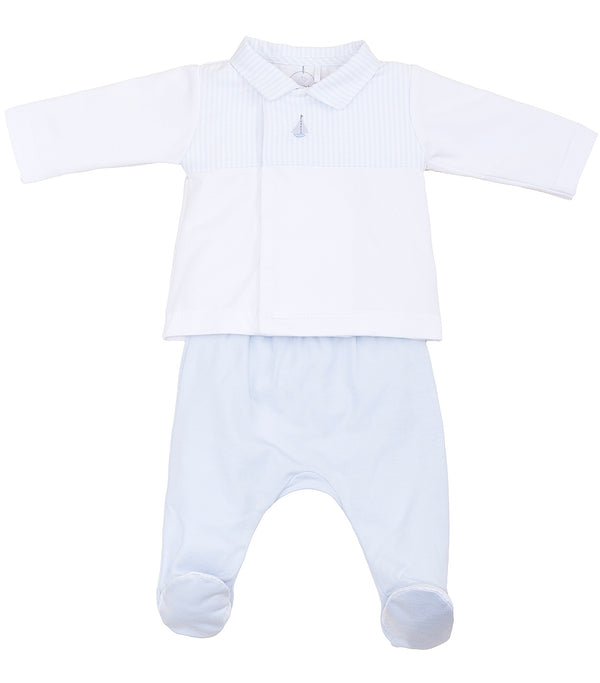 SS19 Laranjinha Baby Boys White & Blue Boat Motif Two-Piece Set V9083