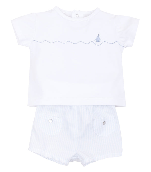 SS19 Laranjinha Baby Boys Blue & White Stripe Two-Piece Set V9085