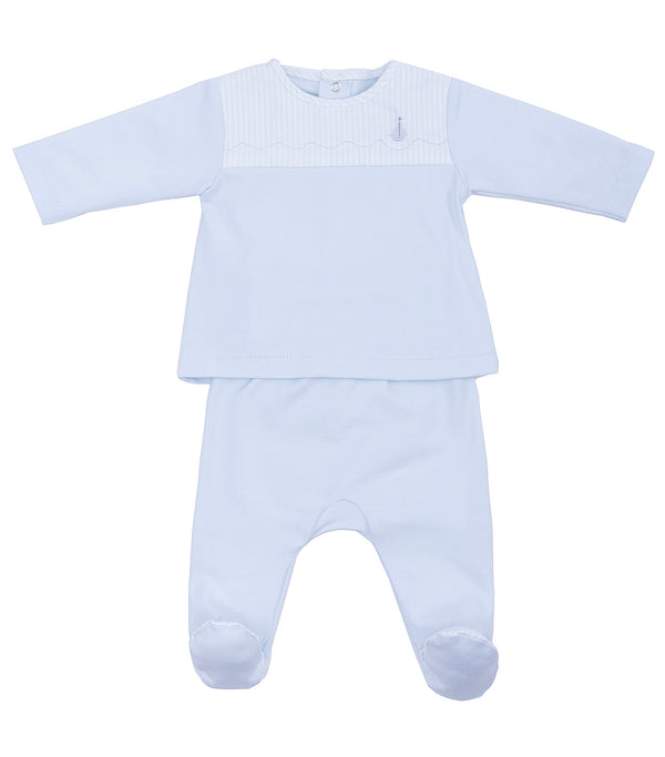 SS19 Laranjinha Baby Boys Blue Boat Motif Two-Piece Set V9084