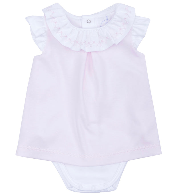 SS19 Laranjinha Baby Girls Pink & White Frill Collar Dress & Bodyvest V9031