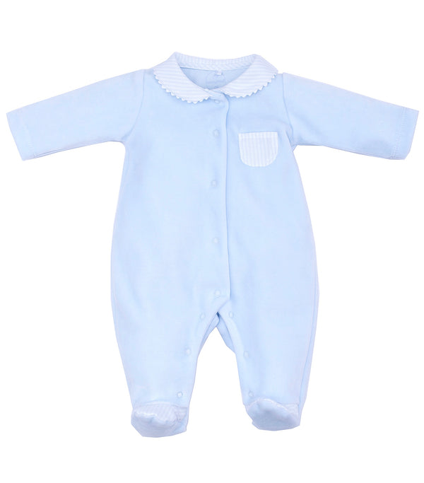 SS19 Laranjinha Baby Boys Blue Velour Striped Babygrow V9254