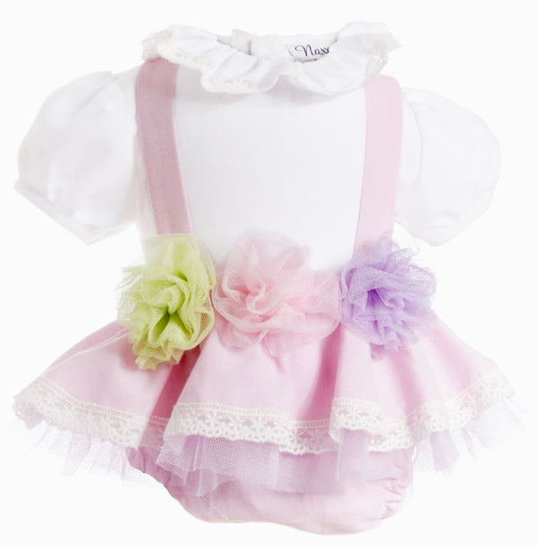 SS19 Naxos Baby Girls Pink Tulle Flower Jam Pants Set