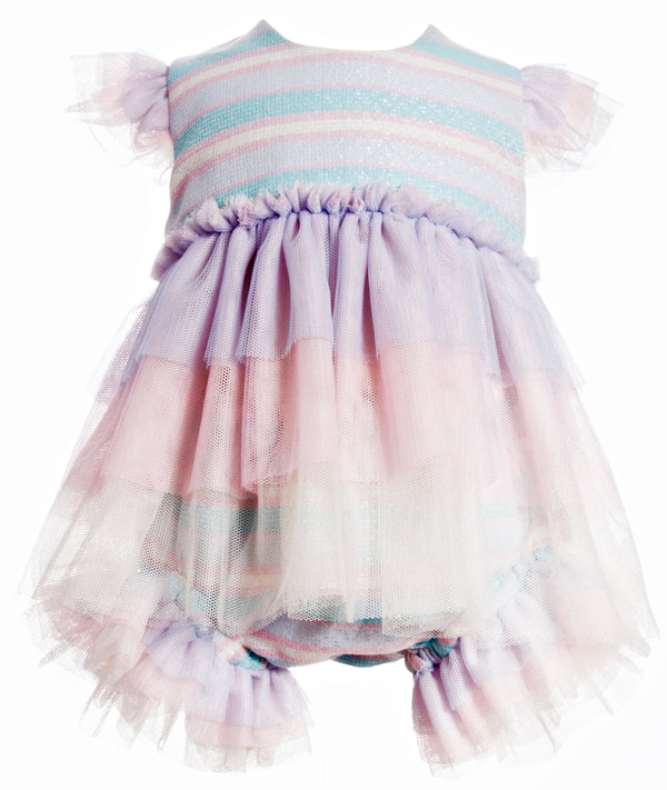 SS19 Naxos Baby Girls Pastel Rainbow Dress & Jam Pants Set