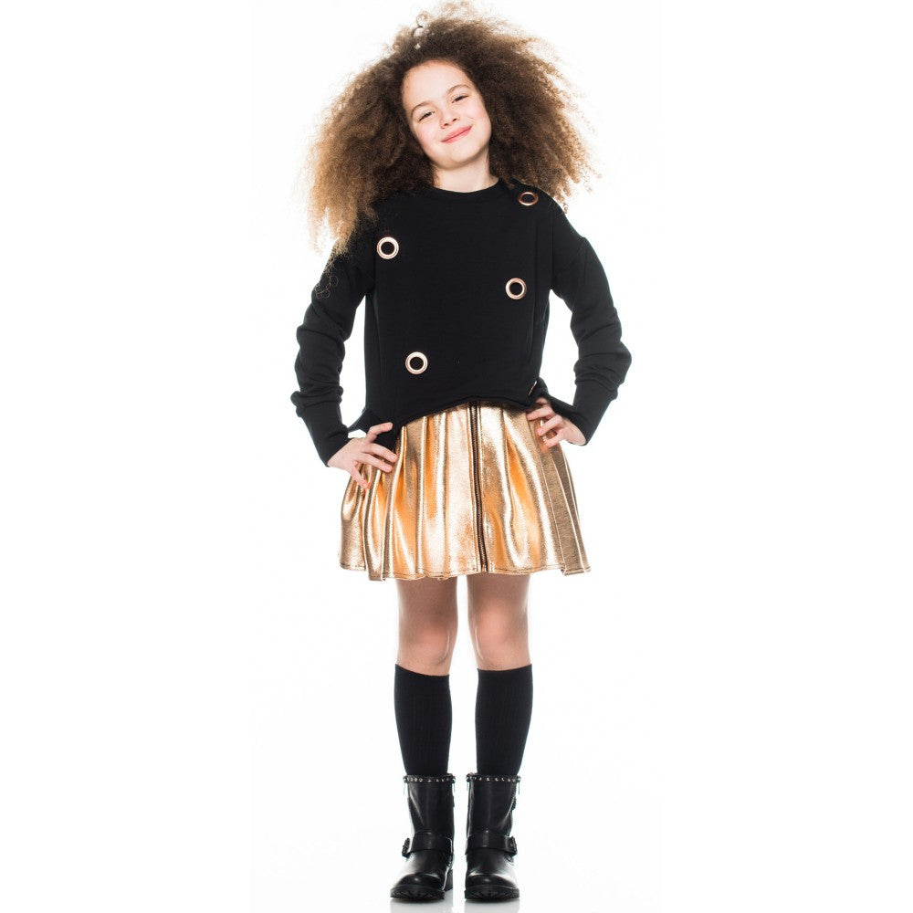 AW16 Fun & Fun Girls Metallic Rose Gold Skater Skirt