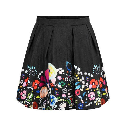 AW16 Fun & Fun Girls Black Skirt With Floral Print