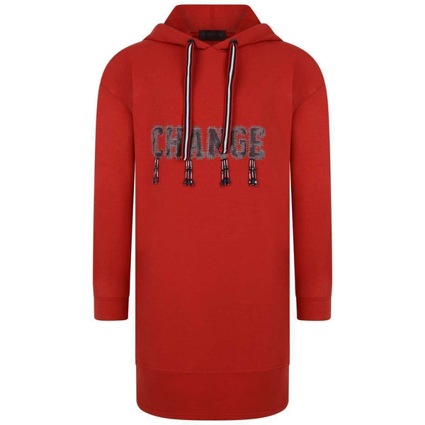AW18 Fun & Fun Girls Red 'Change' Hooded Sweat Dress