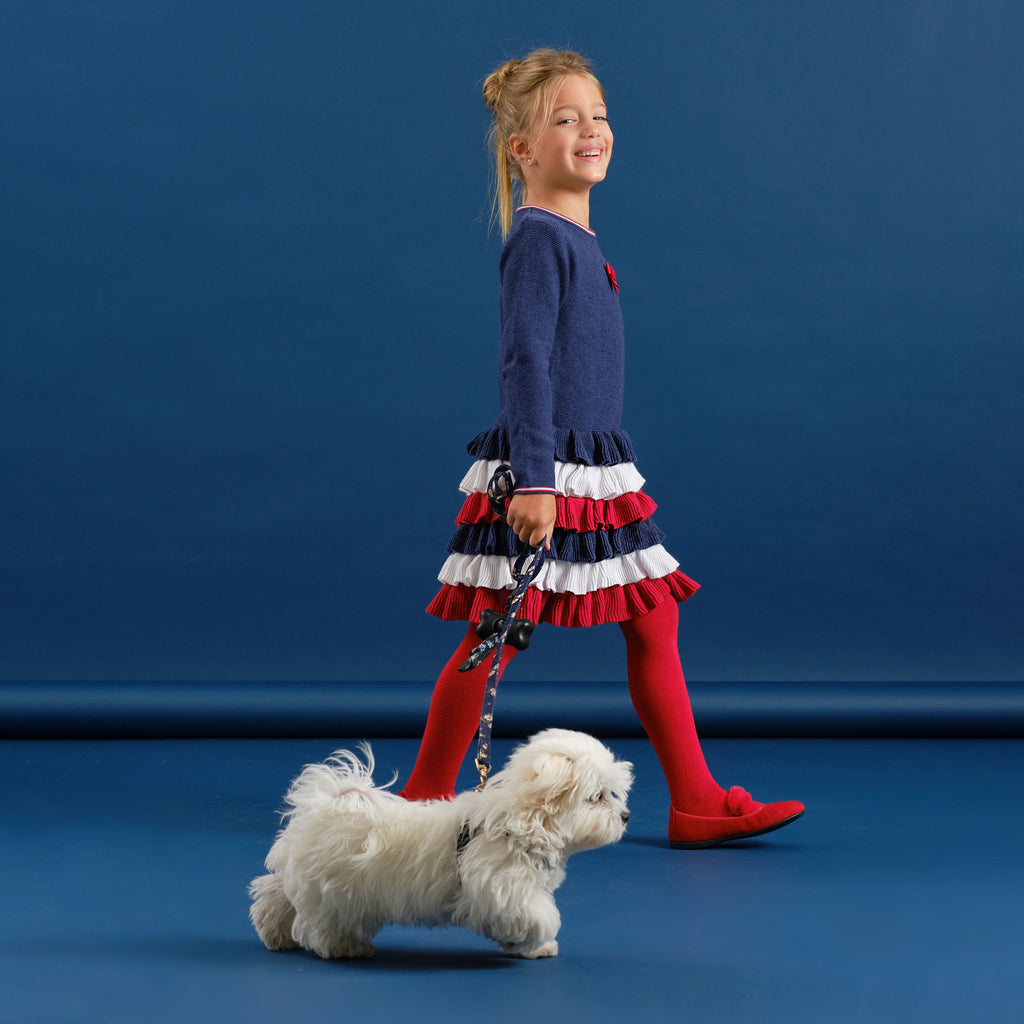 AW20 Tutto Piccolo Girls Navy Blue, Red & Cream Dress & Tights Set 9415