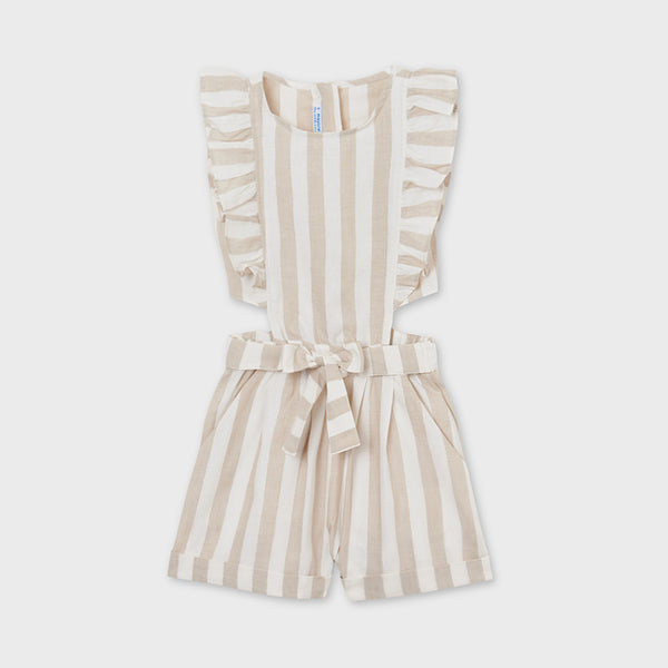 SS21 Mayoral Older Girls Camel & Ivory Playsuit 6820