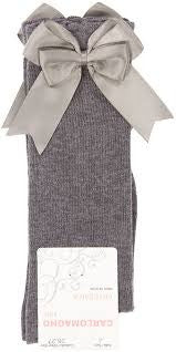 Carlomagno Grey Double Bow Knee High Socks - Liquorice Kids