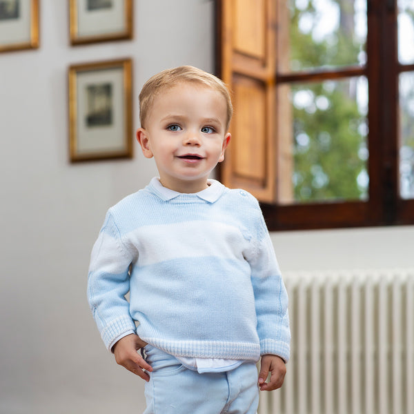 AW19 Tutto Piccolo Boys Blue Knitted Jumper 7811