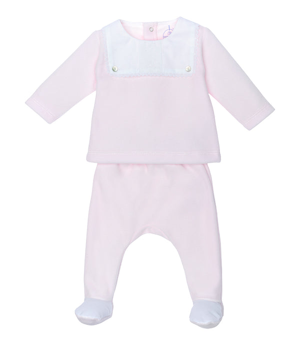 AW20 Laranjinha Baby Girls Pink Velour Two-Piece Set I0061
