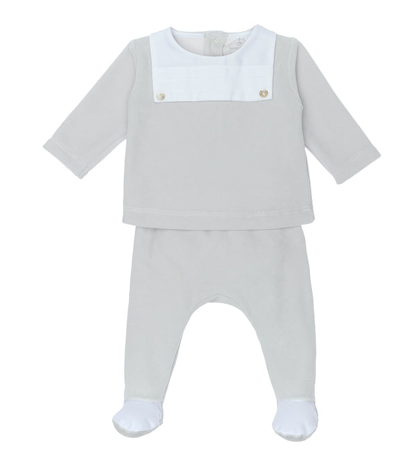 AW20 Laranjinha Baby Grey & White Velour Two-Piece Set I0068