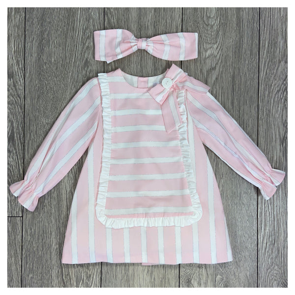 AW20 Rochy Girls Raya Lurex Pink & White Stripe A-Line Dress