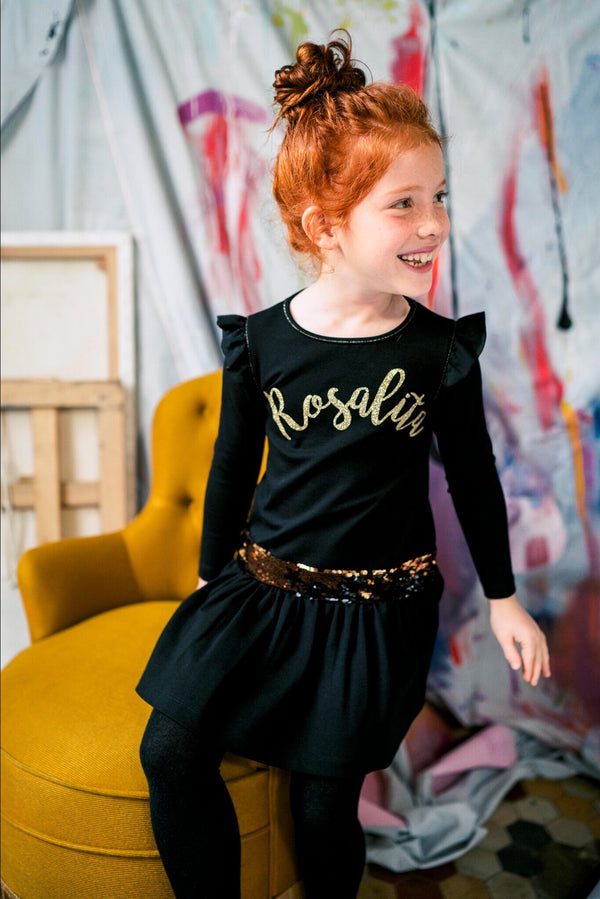 PRE-ORDER AW19 Rosalita Girls Zwickau Black & Gold Dress