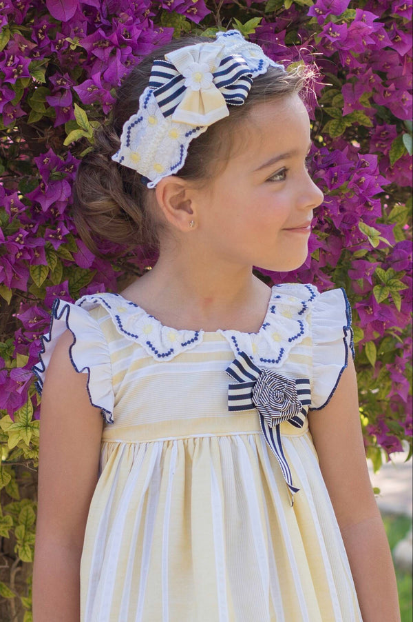 PRE-ORDER SS20 Dolce Petit Girls Lemon, Navy Blue & White Headband 2222-D