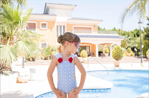 SS20 Dolce Petit Girls Blue Star & Anchor Swimming Costume 2422-TR
