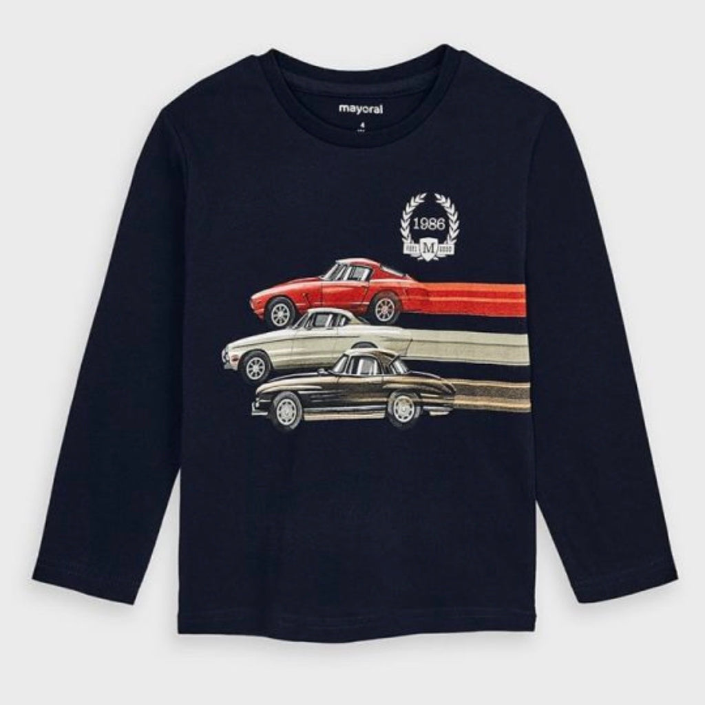 AW20 Mayoral Boys Navy Blue Vintage Car Top 4038