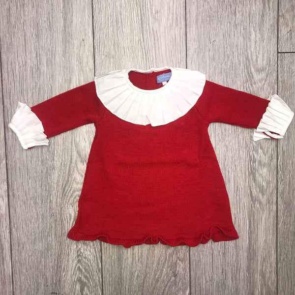 AW19 Pleated Collar Red Girls Knitted Dress