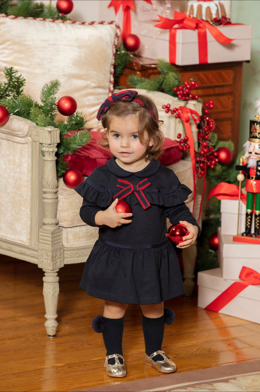 AW20 Patachou Girls Navy Blue Bow Dress
