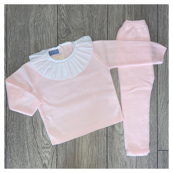 Aurea Pleated Collar Pale Pink Girls Knit Tracksuit