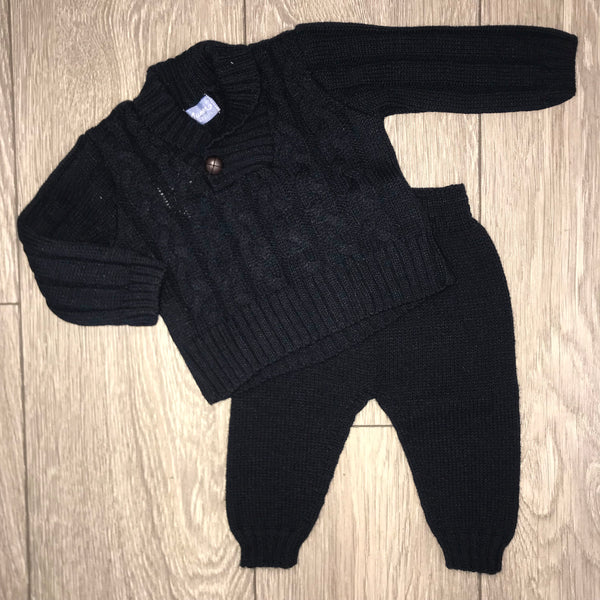 Aurea Peter Pan Collar Boys Navy Blue Chunky Knit Tracksuit