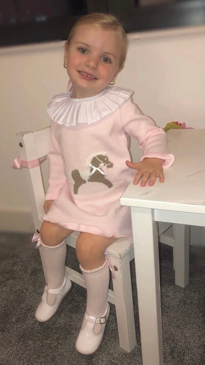 AW19 Pleated Collar Pale Pink Girls Horse Knitted Dress