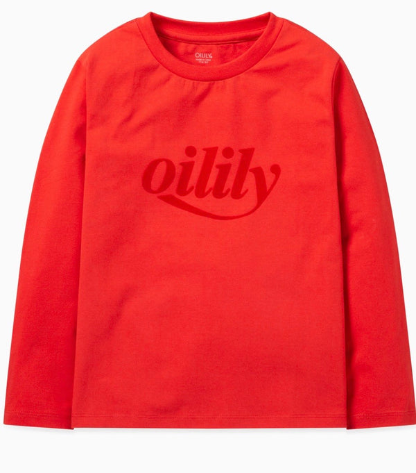 AW19 Oilily Girls Tolsy T-Shirt Long Sleeves 21 Plain Red Logo