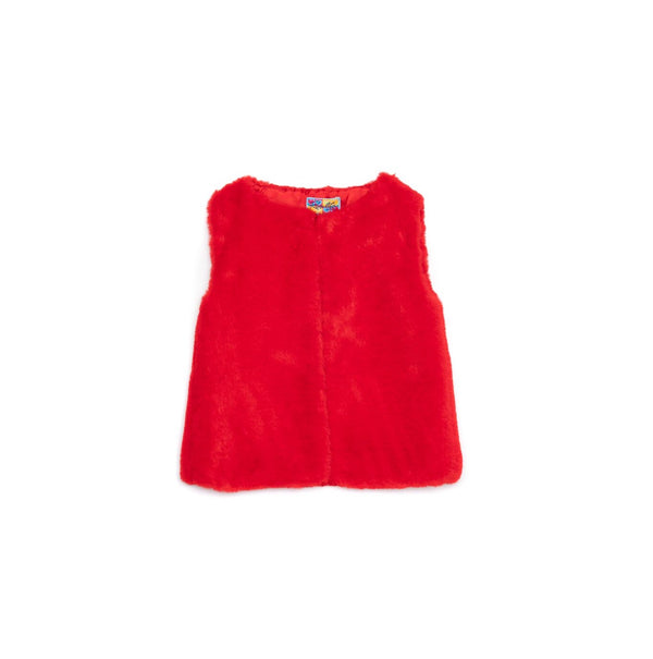 AW20 Rosalita Girls Escobita Red Faux Fur Gilet