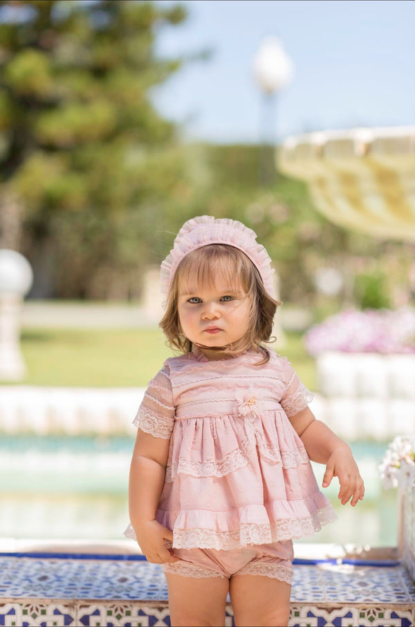 PRE-ORDER SS20 Dolce Petit Baby Girls Blush Pink Lace Dress, Knickers & Bonnet Set 2112-VBG