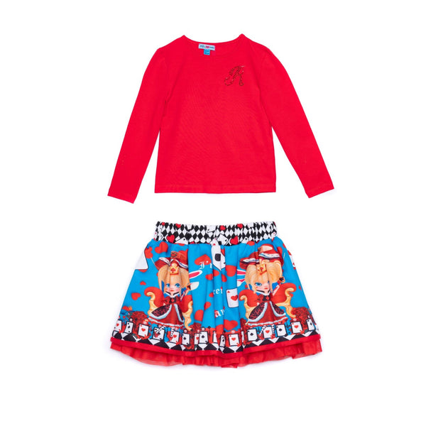 AW20 Rosalita Girls Red Queen Of Hearts Skirt Set
