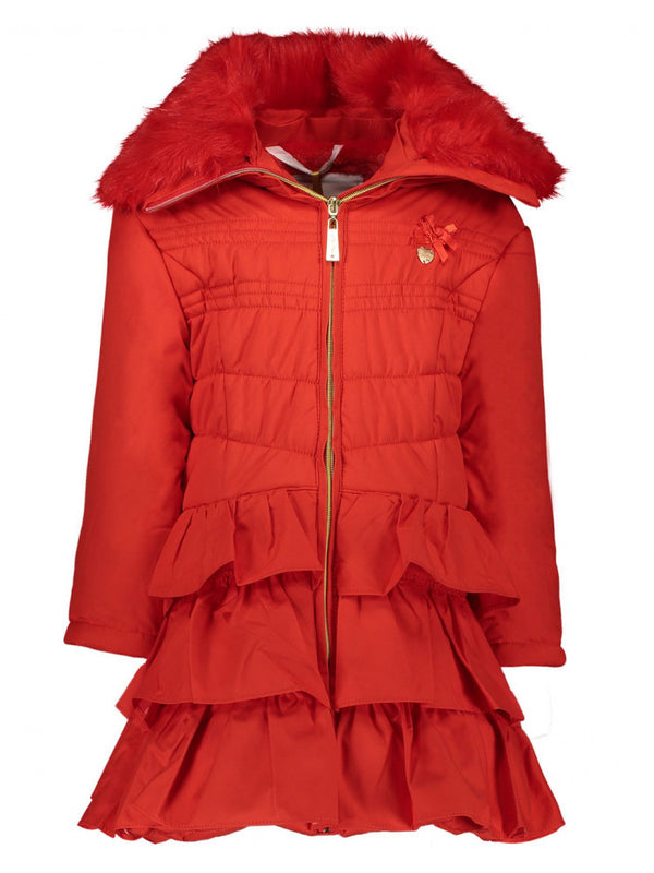 AW20 Le Chic Girls Red Ruffle Hooded Coat