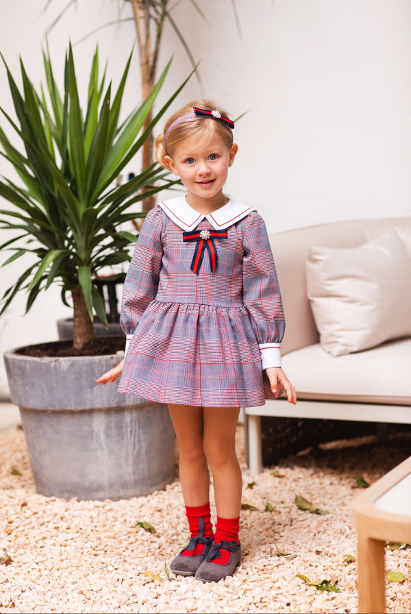 AW20 Rochy Girls Check Gales Bow Dress