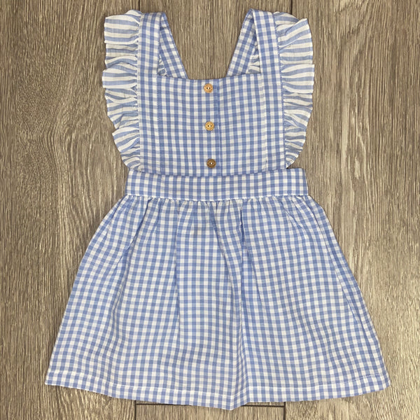 SS20 Laranjinha Girls White & Lilac Gingham Dress V0417