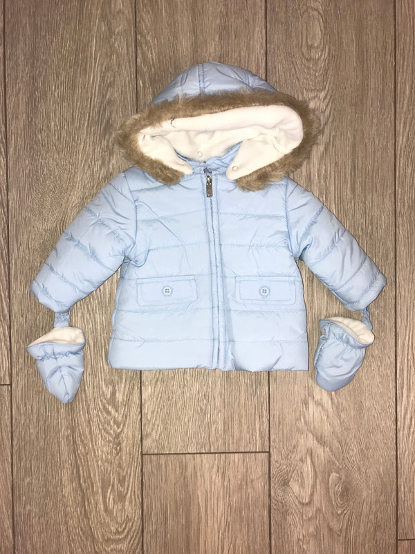 AW18 Everything Must Change Blue Faux Fur Trim Coat