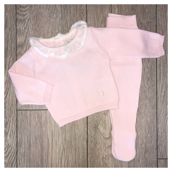 AW19 Patachou Baby Girls Pink Knitted Two-Piece Set