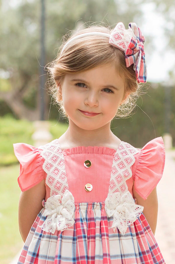 SS20 Dolce Petit Girls Coral Check Headband 2234-DP