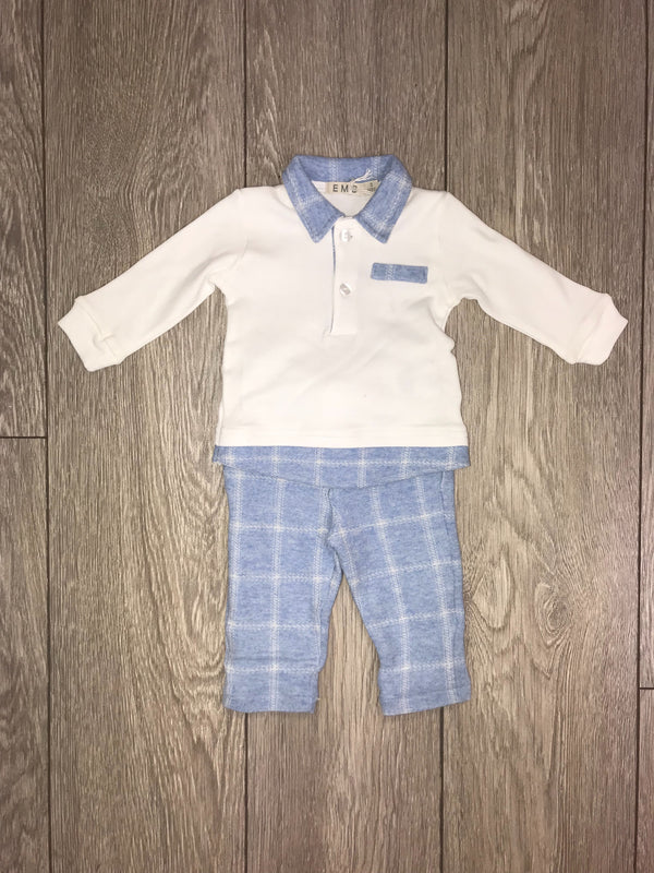 AW18 Everything Must Change Baby Boys Blue & Ivory Check Trouser Set