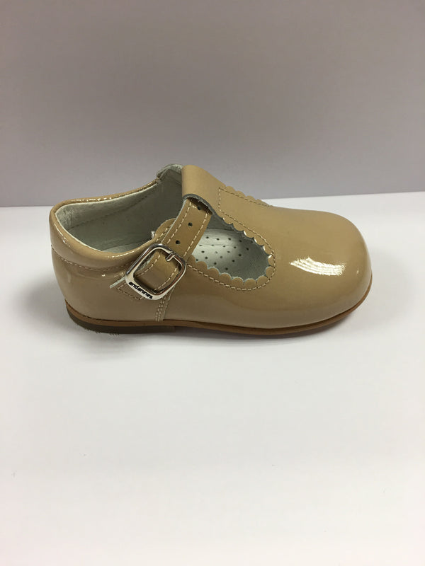Andantinos Girls Patent Leather Camel T-Bar Shoes with Scalloped Edge - Liquorice Kids