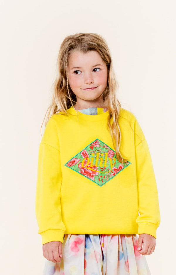 SS20 Oilily Girls Heritage Yellow Old Rose Sweater 40