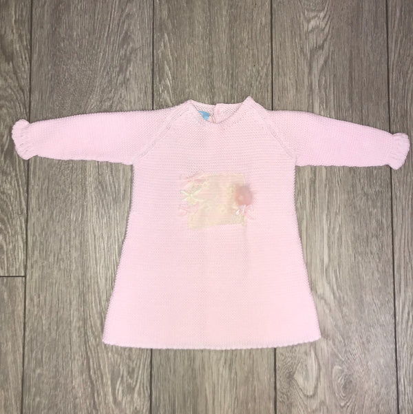 AW18 Floc Baby Girls Pink Lace & Bows Knitted Dress